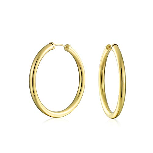 5e5d76d19fc7 Tubo continuo interminable ronda minimalista 10k Yellow Gold llena Hoop  Earrings