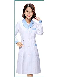 ESENHUANG Manga Larga Mujeres Blanco Abrigo Médico Servicios De Enfermería Uniforme Médico Scrub Ropa Blanca Bata