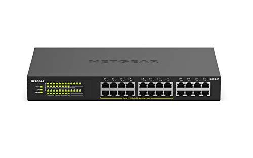 NETGEAR GS324P 24-Port Gigabit Ethernet LAN PoE Switch Unmanaged (mit 16x PoE+ 190W, Desktop oder Rack-Montage, robustes Metallgehäuse)