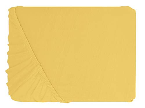 npluseins klassisches Jersey Spannbetttuch – erhältlich in 34 modernen Farben und 6 verschiedenen Größen – 100% Baumwolle, 90-100 x 200 cm, gelb - 2