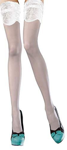 Selente Lovely Legs raffinierte halterlose Damen Strümpfe, 20 DEN, Made in EU, weiß-breiter-Saum, Gr. XL