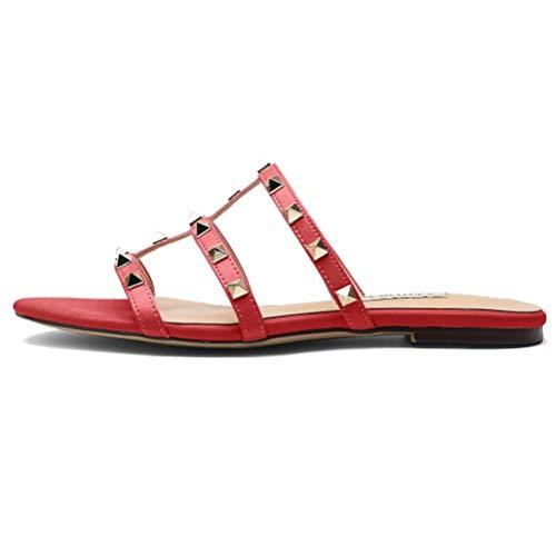 Donna Mules Flat Sandali Studded Slides Gold Stud Rivets Backless Dress Sandal Slippers Red 10UK 43EU