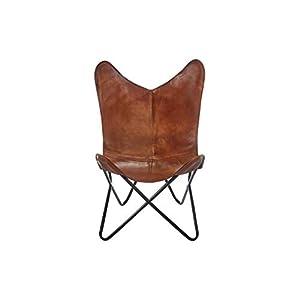 Kobolo Butterfly Chair Schmetterlingsstuhl Butterfly Sessel aus Leder – Braun