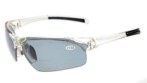 Gr8Sight UV400 Wraparound Designer Style Sport Half-Rimless Tinted Bifocal Lesebrille Sun Leser mit Fall Männer Frauen Klare Rahmen Grau Objektiv +2.00 (Lesebrille Sun-leser Männer)