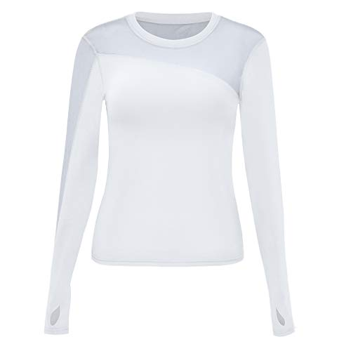 Provide The Best Frauen Round Neck Langarm Bluse Mädchen Solid Color Mesh-Tops Sport-Shirt -