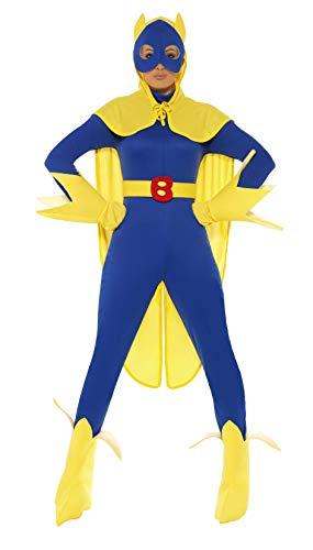 Smiffys, Damen Bananaman Kostüm, Catsuit, Maske, Umhang Handschuhe und Überstiefel, Größe: S, 34067 (Bananaman Kostüm Damen)
