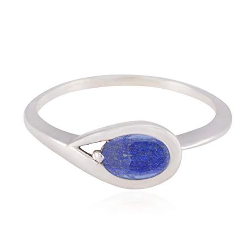 RGPL - echte Edelsteine ovale cabochon Lapislazuli-Ringe - 925 Sterling Silver Blue Lapislazuli echter edelsteinring - bestes schmuckgeschenk für handgefertigte Halloween-Ringe