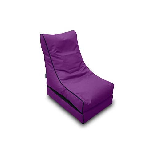 315JnY0zpvL. SS500  - Pufmania Bean Bag Beanbag Lounger Polyester Waterproof 50 x 75 cm Folded/150 x 70 cm Deployed (Lilac)