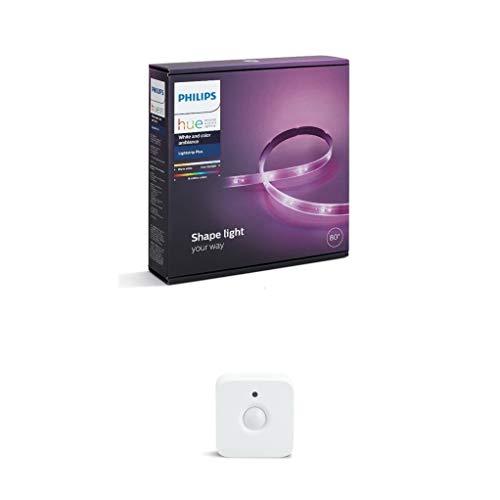 Philips Lighting Hue Striscia LED, Bianco, 2 m x 2 + Lighting Hue Sensore di Movimento per Accensione e Spegnimento Lampadine, Batterie Incluse, Bianco