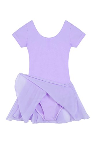 L'Amore Ballettanzug Ballerina Kleid Kinderkostüm, Kinder Mädchen Tutu Ballettkleid Trikot Kleid mit Chiffonröckchen in Rosa Pink Schwarz Weiß Lila Blau Gr. 110-160 (Ballerina Kleid Kinder)