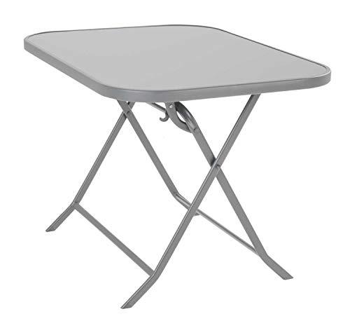 Nicht Zutreffend Gartentisch Klapptisch Esstisch | Silberfarben | Stahl | Milchglas | Klappbar | 100x71 cm