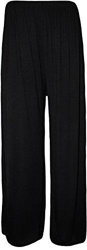 Waerall - pantaloni palazzo da donna a gamba svasata, taglie forti 50-60 nero  24w x 26l
