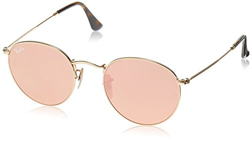 RAY BAN Round Metal, Occhiali da Sole Uomo, Oro (Shiny Gold with Copperflash Lens), Small
