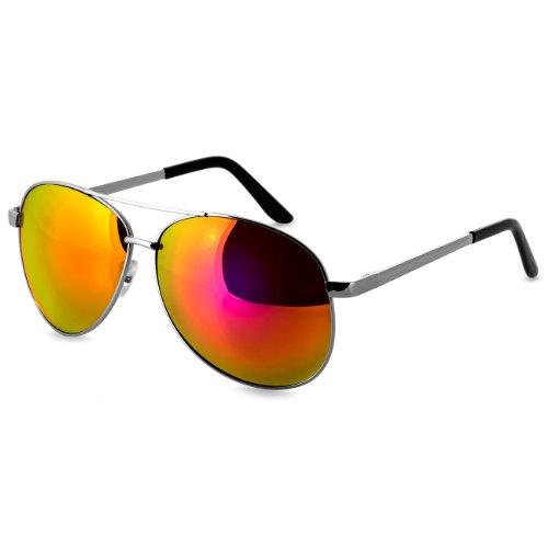 Caspar SG005 Unisex Retro Pilotenbrille, Farbe:orange