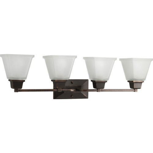 Progress Lighting P2745-74 4-Light Bath Fixture with Square Etched Glass and Can Mount Up Or Down, Venetian Bronze by Progress Lighting - Square Bath Lighting