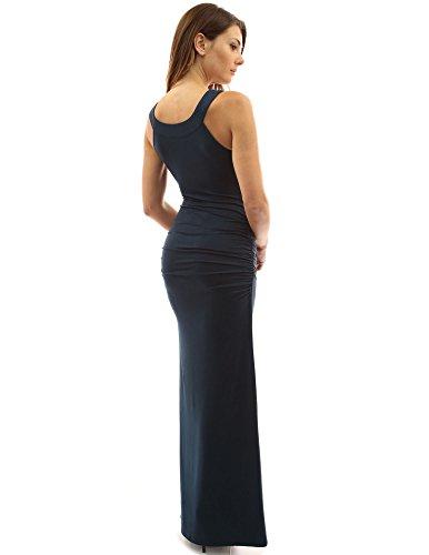 PattyBoutik Damen Rundhalsausschnitt, ärmelloses Maxi-Kleid mit Seitenschlitz und Rüschen Teal