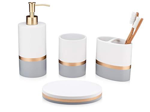 Essentra home giorno e notte collection 4-piece set accessori da bagno e grigio con oro banda, set comprende: dispenser sapone, spazzolino holder, bicchiere e piatto di sapone, 4 pezzi bianco