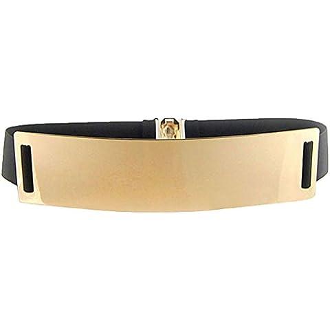 S&E las de las mujeres el oro tono elástico Espejo Adorno de metal vestido de la correa de la cintura del estiramiento