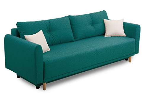 Collection AB Scandinavia Bettfunktion und Bettkasten Schlafsofa, Stoff, Petrol, 86 x 219 x 93 cm