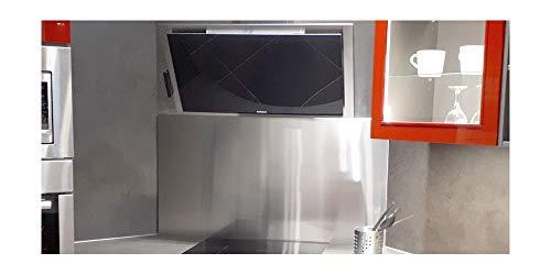 Credence Inox - Fond de cuisson - L 90 x H 50 cm ( epaisseur 11 mm ) - Inox brossé