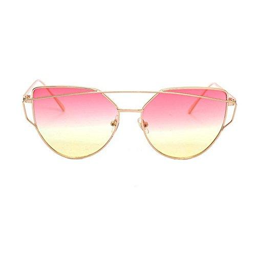 Tonsee Twin-Beams Classic Frauen Metall Frame Spiegel Sonnenbrille Katze(Gelb)