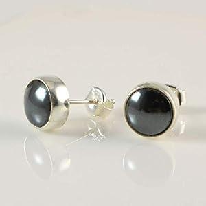 Damen Ohrringe Natürlichen Grau Schwarz Runden Hämatit Edelstein 9mm Handgefertigt Ohrstecker 925 Silber