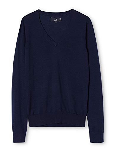 Meraki pullover lana merino donna scollo a v, blu (navy), 48 (taglia produttore: x-large)
