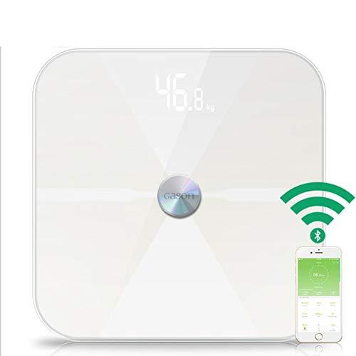 Chengn Smart Bluetooth Körperfett-Analysator Bluetooth Körperfettwaage Gesundheitsüberwachung für Körpergewicht Fett Wasser BMI bmr,White
