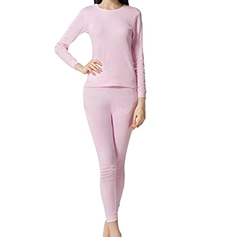 Laixing Haute Qualité Women's Soft Thermal Underwear Sets Lined Shirt/Pants 2pcs Cotton Sets