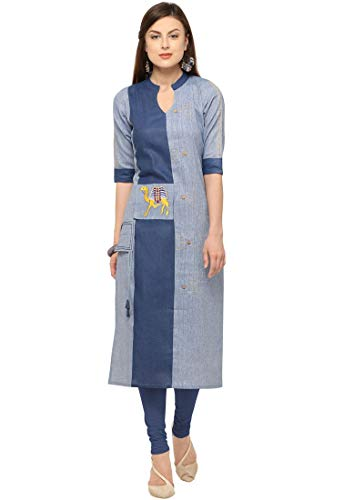 Maple Fashions Brilliant Khadi Party Wear Kurti Gr. X-Large, blau