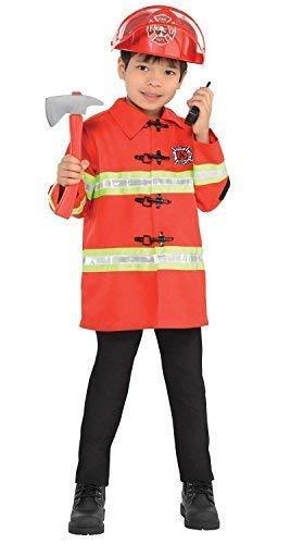 Junge Fire Chief Kostüm - Kinder Jungen Mädchen Feuerwehrmann Feuerwehrmann Fire Chief Uniform Beruf Rettungsdienste 4 Stück Kostüm Kleid Outfit Satz