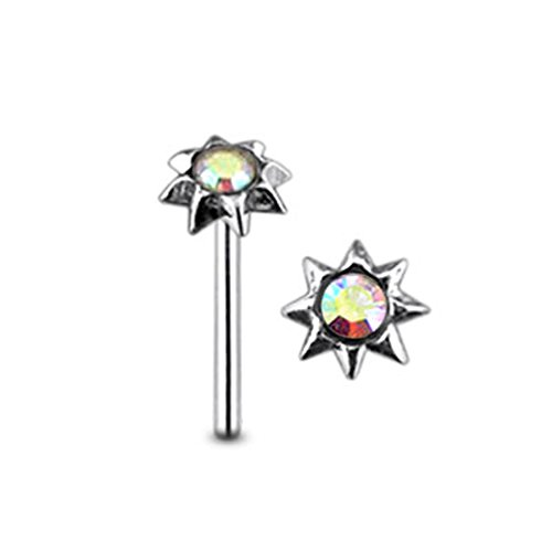 Mini Sonne Regenbogen Crystal Stein Top 22 Gauge 925 Sterling Silber gerade Nase Stud Piercing