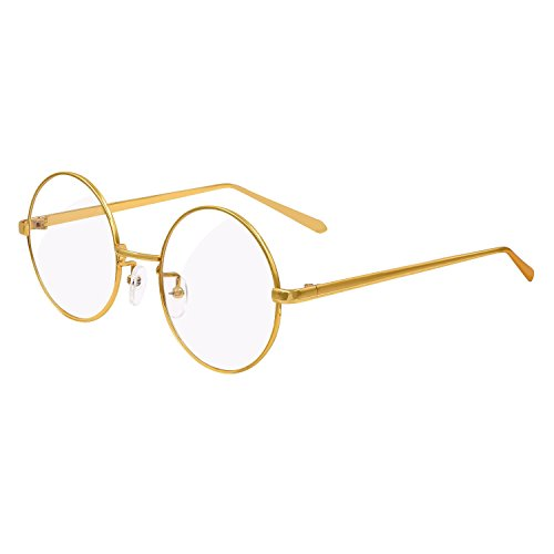 Hibote Männer Frauen Clear Lens Runde Full Coverage Ultrathin Metall Rahmen Lesung Gläser Dekor Mode Geek / Nerd Retro Eyewear Brille Gold