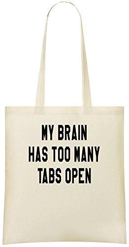 Mein Gehirn hat zu viele Tabs geöffnet - My Brain Has Too Many Tabs Open Custom Printed Shopping Grocery Tote Bag 100% Soft Cotton Eco-Friendly & Stylish Handbag For Everyday Use Custom Shoulder Bags