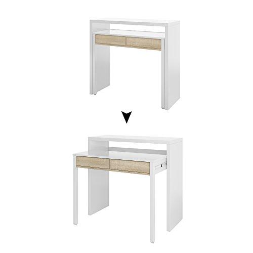 Habitdesign 0F4582A - Mesa Escritorio Extensible, Mesa Estudio Consola, Color Blanco Artik y Roble Canadian, Medidas: 98,5x87,5x36-70 cm de Fondo