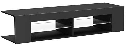 Vladon TV Board Lowboard Movie, Korpus in Schwarz matt/Fronten in Schwarz Hochglanz inkl. LED Beleuchtung in Weiß