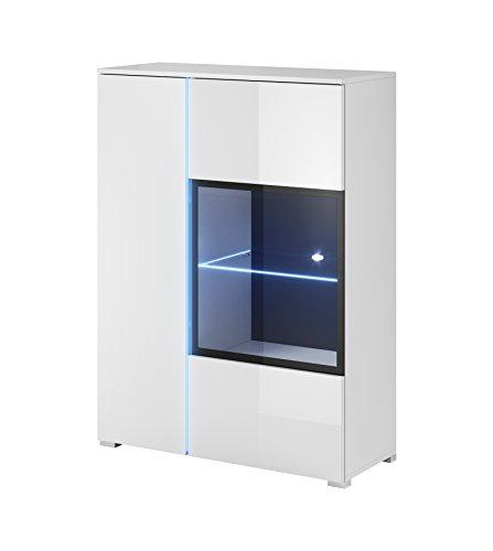 mb-moebel Moderne Wohnwänd Wohnzimmer Möbel Schrankwand MIT LED Push to Open-Funktion MORA Set 1