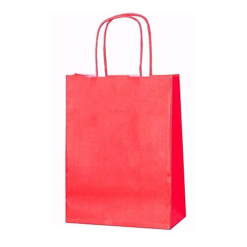 11 x Farbige Twisted Papier Partytüten Geschenktüten mit Griffe xsmall B 18 x L 24 x D 8 cm Geburtstag Weihnachten Hochzeitstag Kraft Staubbeutel, rot