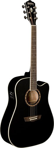 Washburn WD10SCEB - Guitarra electroacústica (tipo dreadnought), color negro
