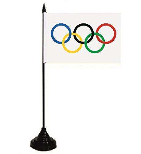 U24 Tischflagge Olympia Olympische Ringe Fahne Flagge Tischfahne 10 x 15 cm (Olympische Flagge Ringe)