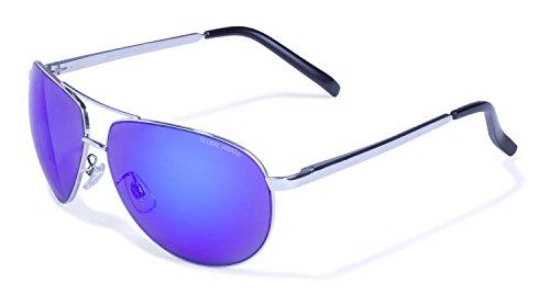 Global Vision Aviator-4☆dunkel getönte Sonnbrille☆blau verspiegelte bruchsichere Linsen☆modisches Accesoire☆Coole Pilotenbrille