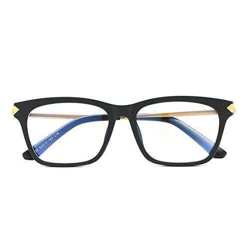 Mkulxina Vintage Frame Unisex Brille Computer Schutz Auge Computer Brille Männer Frauen (Color : Black+Sliver)