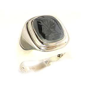 Gents Solid Sterling Silver carved Centurions Head Natural Hematite Mens Mans Signet Ring, Made in England - Size N - Finger Sizes N to Z+3 Available - Ideal gift for fathers day, valentines, wedding, birthday, christmas, thanksgiving, grandfathers day, uncle, dad, son, nephew
