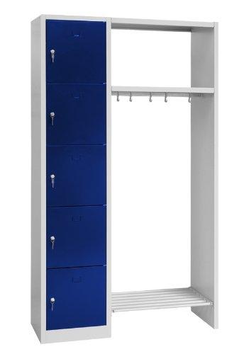 Schließfachschrank Wertfachschrank Fächerschrank Spind Umkleideschrank links inkl. Garderobe 5 Fächer-Spint 525506 blau Maße:1800 x 1100 x 500 mm (H x B x T)