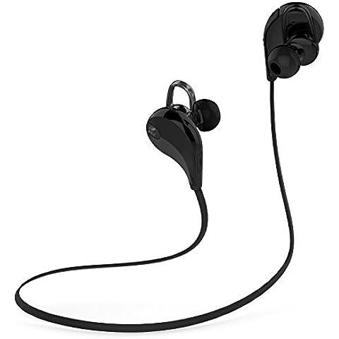 SoundPEATS Qy7 Auriculares Inalámbricos en Estéreo con Bluetooth 4.0 para iPhone, iPad, iPod, Teléfonos Móviles, Tablets, y otros dispositivos, Negro