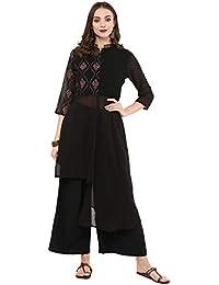 Ziyaa women's Black color High Low Foil Print Kurta (ZIKUGR2371)