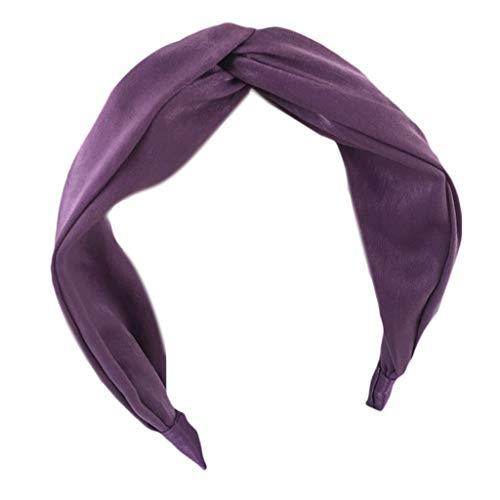 VIccoo 6 Farben Frauen Mädchen Vintage Boho Plissee Breites Stirnband Glitter Süße Feste Haarband Twist Kreuz Verknotet Bowknot Tuch Gewickelt Headwear - Lila