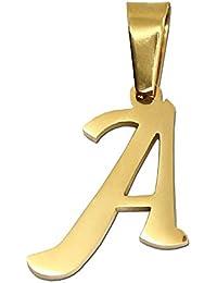 1 colgante +bolsa de regalo colgante letra alfabeto nombre cadena collar color oro mujer hombre acero inoxidable charm