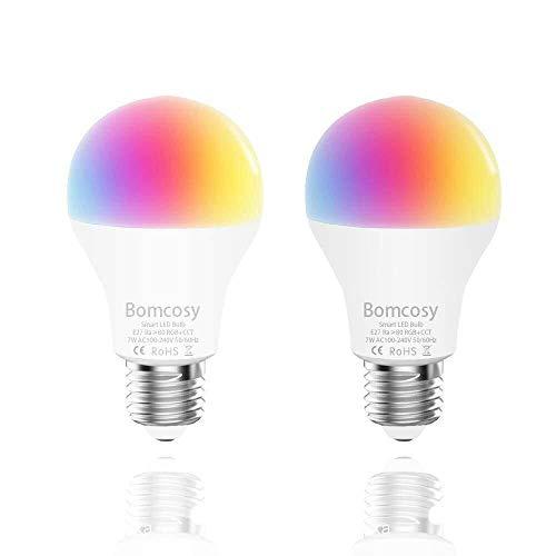 Bombilla WiFi Lámpara LED E27 7W Color Regulable 60W Equivalencia 650LM y Control de Voz por Alexa y Google Home No Se Requiere Hub 2 Unidades [Clase de eficiencia energética A++]