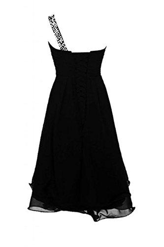 CoutureBridal® Robe courte de soirée cocktail en Chiffon Robe de Demoiselle D'honneur une Epaule avec Faux Diamants,Paillettes Noir